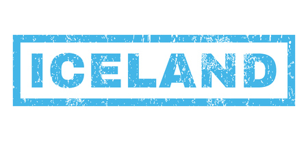 land mark: Iceland text rubber seal stamp watermark. Tag inside rectangular banner with grunge design and dust texture. Horizontal glyph blue ink sticker on a white background. Stock Photo