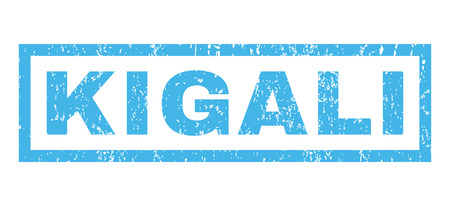 kigali: Kigali text rubber seal stamp watermark. Caption inside rectangular banner with grunge design and scratched texture. Horizontal glyph blue ink sticker on a white background. Stock Photo