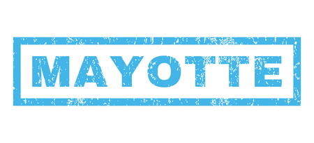 mayotte: Mayotte text rubber seal stamp watermark. Tag inside rectangular banner with grunge design and unclean texture. Horizontal glyph blue ink emblem on a white background.