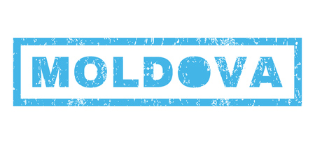 moldovan: Moldova text rubber seal stamp watermark. Caption inside rectangular shape with grunge design and dirty texture. Horizontal glyph blue ink sticker on a white background.