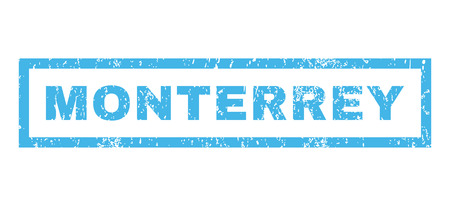 monterrey: Monterrey text rubber seal stamp watermark. Tag inside rectangular banner with grunge design and unclean texture. Horizontal glyph blue ink emblem on a white background.