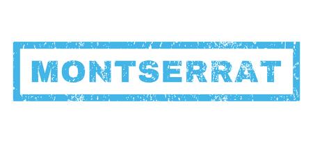 montserrat: Montserrat text rubber seal stamp watermark. Caption inside rectangular shape with grunge design and dust texture. Horizontal glyph blue ink sticker on a white background.