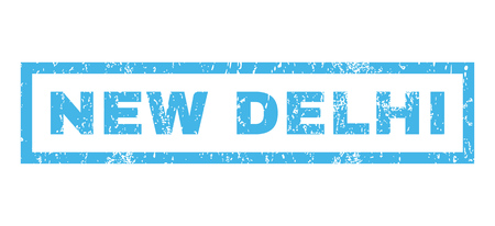 new delhi: New Delhi text rubber seal stamp watermark. Caption inside rectangular banner with grunge design and dirty texture. Horizontal glyph blue ink emblem on a white background. Stock Photo