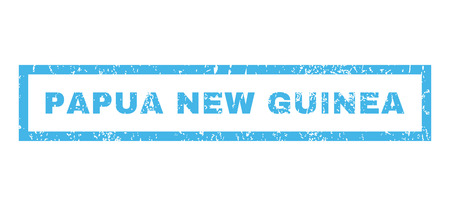 glyph: Papua New Guinea text rubber seal stamp watermark. Caption inside rectangular shape with grunge design and scratched texture. Horizontal glyph blue ink sign on a white background.