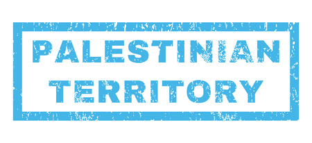 Palestinian Territory text rubber seal stamp watermark. Tag inside rectangular shape with grunge design and dirty texture. Horizontal glyph blue ink emblem on a white background.