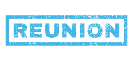 reunion: Reunion text rubber seal stamp watermark. Tag inside rectangular banner with grunge design and dust texture. Horizontal glyph blue ink sticker on a white background. Stock Photo