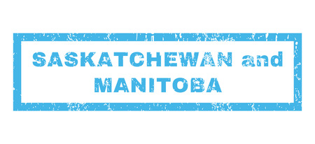 manitoba: Saskatchewan and Manitoba text rubber seal stamp watermark. Tag inside rectangular banner with grunge design and dirty texture. Horizontal glyph blue ink sign on a white background. Stock Photo