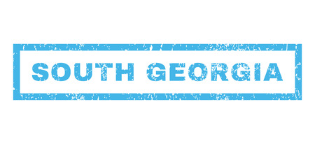 south georgia: South Georgia text rubber seal stamp watermark. Caption inside rectangular shape with grunge design and dirty texture. Horizontal glyph blue ink sticker on a white background. Stock Photo