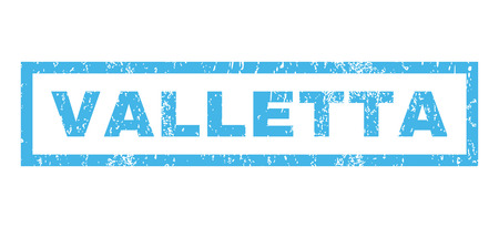 Valletta text rubber seal stamp watermark. Tag inside rectangular shape with grunge design and unclean texture. Horizontal glyph blue ink sticker on a white background. Stock Photo