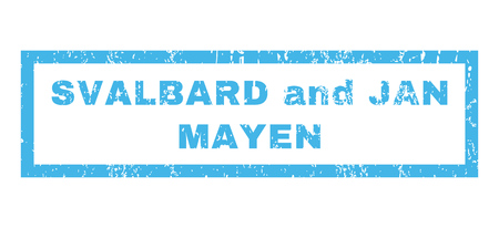 jan: Svalbard and Jan Mayen text rubber seal stamp watermark. Caption inside rectangular banner with grunge design and unclean texture. Horizontal glyph blue ink emblem on a white background.