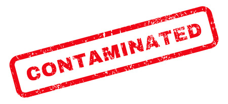 contaminated: Contaminated Text rubber seal stamp watermark. Tag inside rectangular banner with grunge design and unclean texture. Slanted glyph red ink sign on a white background. Stock Photo