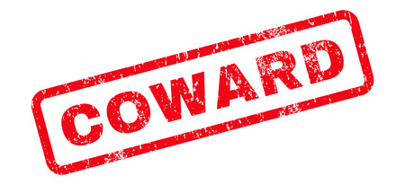 coward: Coward Text rubber seal stamp watermark. Caption inside rectangular shape with grunge design and unclean texture. Slanted glyph red ink sign on a white background.