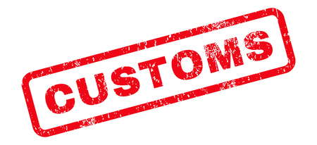 customs: Customs Text rubber seal stamp watermark. Tag inside rectangular banner with grunge design and scratched texture. Slanted glyph red ink sticker on a white background. Stock Photo