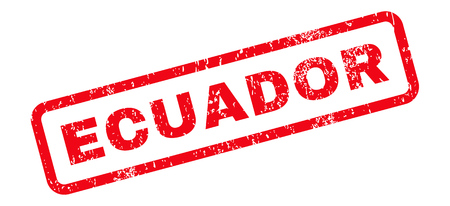 Ecuador Text rubber seal stamp watermark. Caption inside rectangular banner with grunge design and scratched texture. Slanted glyph red ink emblem on a white background.