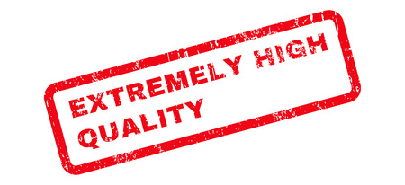 extremely: Extremely High Quality Text rubber seal stamp watermark. Caption inside rectangular shape with grunge design and dirty texture. Slanted glyph red ink sticker on a white background. Stock Photo