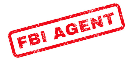 the fbi: FBI Agent Text rubber seal stamp watermark. Caption inside rectangular banner with grunge design and dust texture. Slanted glyph red ink sticker on a white background. Stock Photo