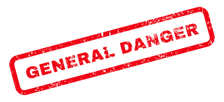 general: General Danger Text rubber seal stamp watermark. Caption inside rectangular shape with grunge design and dirty texture. Slanted glyph red ink sign on a white background.