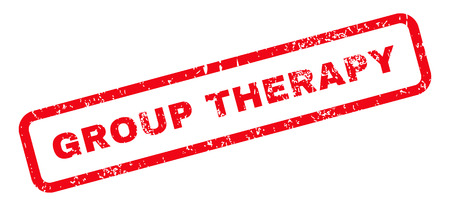 therapy group: Group Therapy Text rubber seal stamp watermark. Caption inside rectangular banner with grunge design and dirty texture. Slanted glyph red ink sign on a white background.