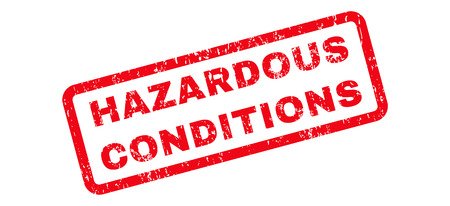hazardous sign: Hazardous Conditions Text rubber seal stamp watermark. Caption inside rectangular shape with grunge design and scratched texture. Slanted glyph red ink sign on a white background.