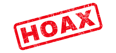 hoax: Hoax Text rubber seal stamp watermark. Caption inside rectangular banner with grunge design and scratched texture. Slanted glyph red ink sign on a white background.
