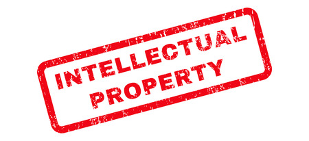 intellectual: Intellectual Property Text rubber seal stamp watermark. Caption inside rectangular shape with grunge design and scratched texture. Slanted glyph red ink emblem on a white background. Stock Photo