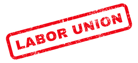 labor union: Labor Union Text rubber seal stamp watermark. Caption inside rectangular shape with grunge design and unclean texture. Slanted glyph red ink sticker on a white background.