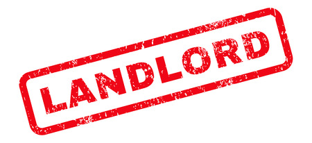 landlord: Landlord Text rubber seal stamp watermark. Tag inside rectangular banner with grunge design and dirty texture. Slanted glyph red ink emblem on a white background. Stock Photo