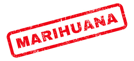 marihuana: Marihuana Text rubber seal stamp watermark. Tag inside rectangular shape with grunge design and scratched texture. Slanted glyph red ink sign on a white background. Stock Photo