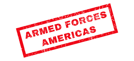 armed services: Armed Forces Americas text rubber seal stamp watermark. Caption inside rectangular banner with grunge design and dust texture. Slanted vector red ink sign on a white background.