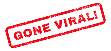 gone: Gone Viral! Text rubber seal stamp watermark. Caption inside rectangular shape with grunge design and dust texture. Slanted glyph red ink sign on a white background. Stock Photo