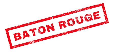baton rouge: Baton Rouge text rubber seal stamp watermark. Caption inside rectangular banner with grunge design and unclean texture. Slanted vector red ink emblem on a white background.