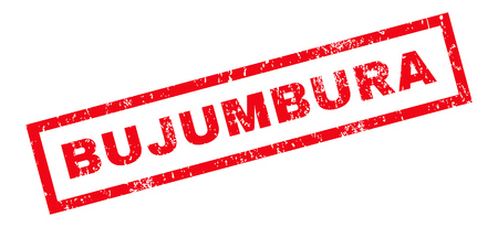 bujumbura: Bujumbura text rubber seal stamp watermark. Caption inside rectangular banner with grunge design and dust texture. Slanted vector red ink sticker on a white background.