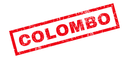 colombo: Colombo text rubber seal stamp watermark. Tag inside rectangular shape with grunge design and dirty texture. Slanted vector red ink sign on a white background.
