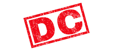 district of columbia: DC text rubber seal stamp watermark. Tag inside rectangular shape with grunge design and scratched texture. Slanted vector red ink sticker on a white background. Illustration