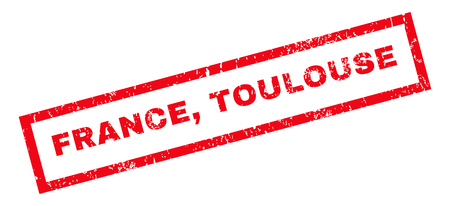 toulouse: France, Toulouse text rubber seal stamp watermark. Tag inside rectangular shape with grunge design and unclean texture. Slanted vector red ink sign on a white background. Illustration