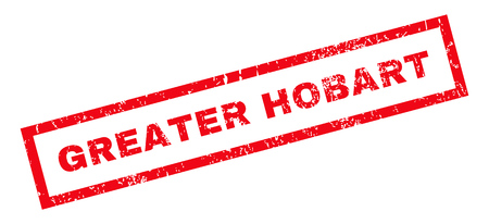 greater: Greater Hobart text rubber seal stamp watermark. Caption inside rectangular banner with grunge design and dust texture. Slanted vector red ink sticker on a white background.