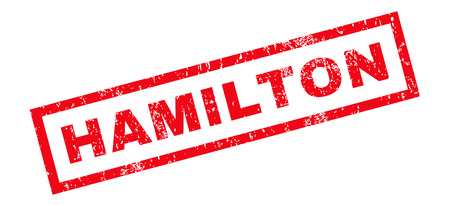 hamilton: Hamilton text rubber seal stamp watermark. Caption inside rectangular banner with grunge design and dirty texture. Slanted vector red ink sticker on a white background. Illustration