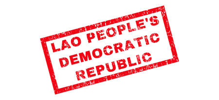 lao: Lao PeopleS Democratic Republic text rubber seal stamp watermark. Tag inside rectangular banner with grunge design and dust texture. Slanted vector red ink sign on a white background. Illustration