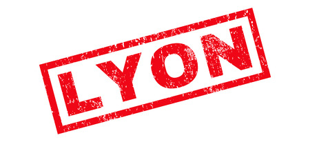 Lyon text rubber seal stamp watermark. Caption inside rectangular banner with grunge design and dirty texture. Slanted vector red ink emblem on a white background.