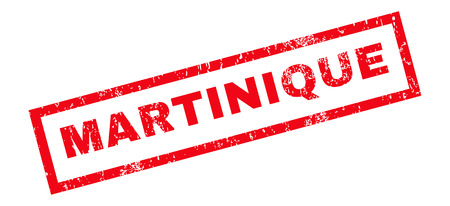 martinique: Martinique text rubber seal stamp watermark. Tag inside rectangular shape with grunge design and unclean texture. Slanted vector red ink sticker on a white background.