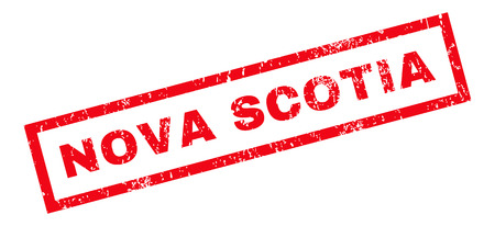 canada stamp: Nova Scotia text rubber seal stamp watermark. Caption inside rectangular banner with grunge design and scratched texture. Slanted vector red ink sticker on a white background.