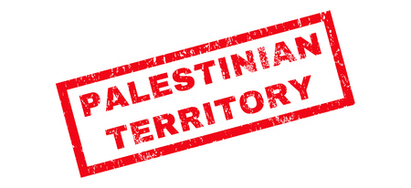 Palestinian Territory text rubber seal stamp watermark. Caption inside rectangular banner with grunge design and dirty texture. Slanted vector red ink sign on a white background.
