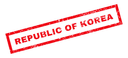 republic of korea: Republic Of Korea text rubber seal stamp watermark. Caption inside rectangular banner with grunge design and scratched texture. Slanted vector red ink sign on a white background. Illustration