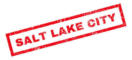 salt lake city: Salt Lake City text rubber seal stamp watermark. Tag inside rectangular shape with grunge design and unclean texture. Slanted vector red ink sign on a white background.