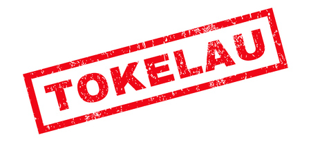 tokelau: Tokelau text rubber seal stamp watermark. Tag inside rectangular shape with grunge design and dust texture. Slanted vector red ink sign on a white background.
