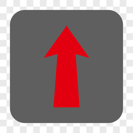 Arrow Up interface toolbar button. Vector icon style is a flat symbol on a rounded square button, red and gray colors, chess transparent background.