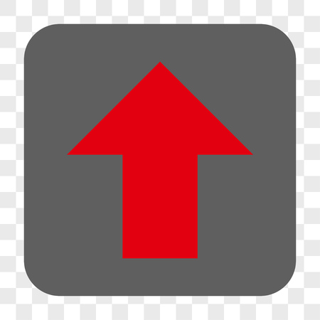 Arrow Up interface toolbar button. Vector icon style is a flat symbol inside a rounded square button, red and gray colors, chess transparent background.