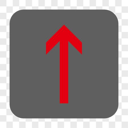 Flèche Up bouton de la barre d'interface. Vector icône de style est un symbole à plat dans un bouton carré arrondi, couleurs rouge et gris, échecs fond transparent.