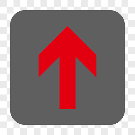 Arrow Up interface toolbar button. Vector icon style is a flat symbol in a rounded square button, red and gray colors, chess transparent background.