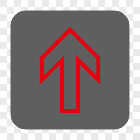 penetrating: Arrow Up interface toolbar button. Vector icon style is a flat symbol inside a rounded square button, red and gray colors, chess transparent background.
